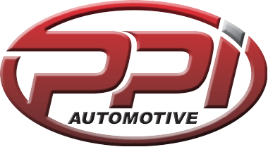 Letters PPi in a red circle showing movement with the word Automotive under that                      in white print.